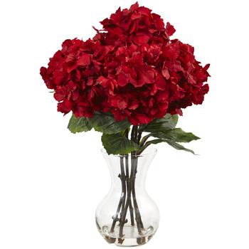 Red Hydrangea with Vase Silk Flower Arrangement - SKU #1442