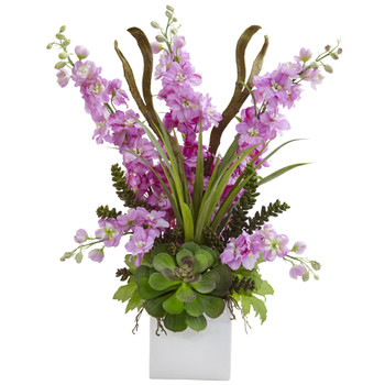 Delphinium and Succulent Arrangement - SKU #1446