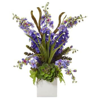 Delphinium and Succulent Arrangement - SKU #1446