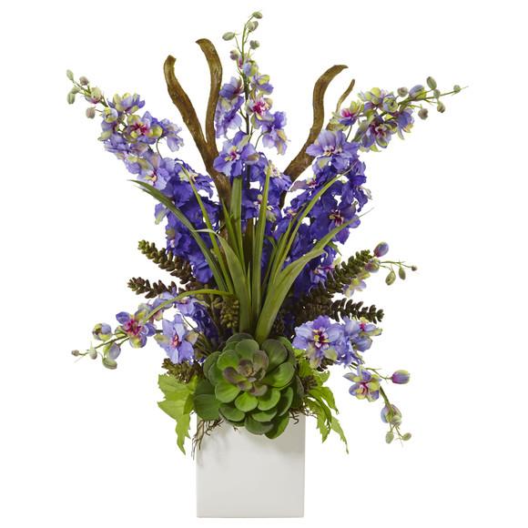 Delphinium and Succulent Arrangement - SKU #1446 - 2