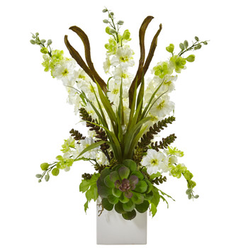 Delphinium and Succulent Arrangement - SKU #1446-WH