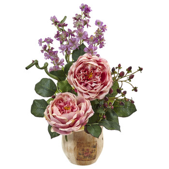 Large Rose and Dancing Daisy in Wooden Pot - SKU #1447
