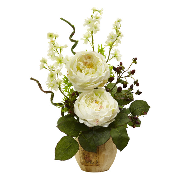 Large Rose and Dancing Daisy in Wooden Pot - SKU #1447 - 1