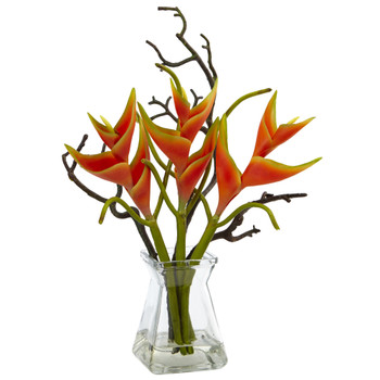 Heliconia in Glass Vase - SKU #1454