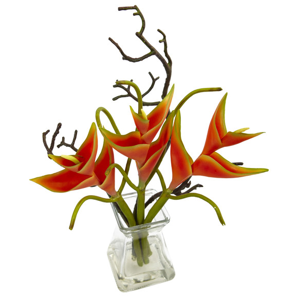 Heliconia in Glass Vase - SKU #1454 - 1