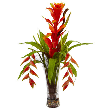 Bromeliad and Heliconia in Vase - SKU #1456