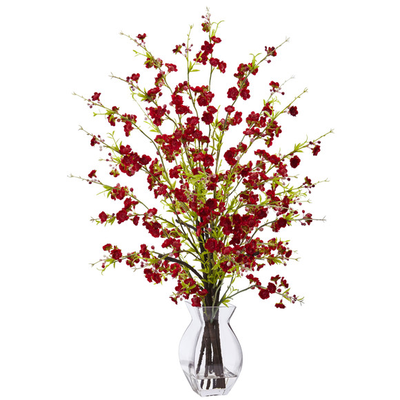 Cherry Blossom in Glass Vase - SKU #1459
