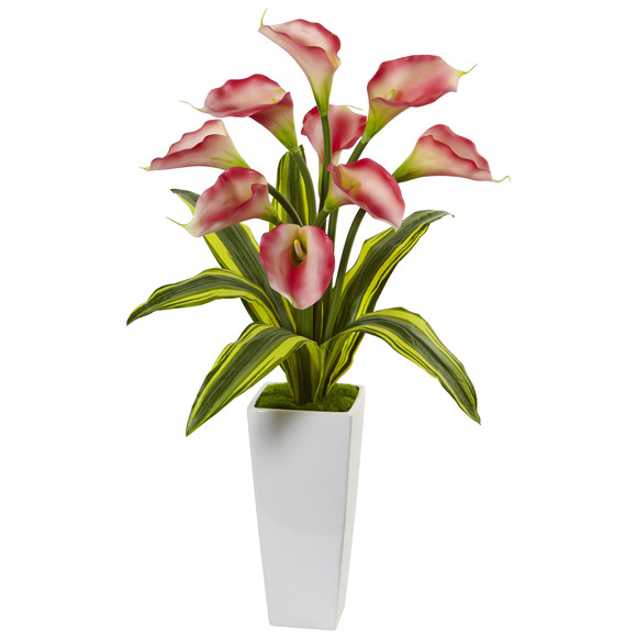 Callas with Tropical Leaves in Glossy Planter - SKU #1462 - 1