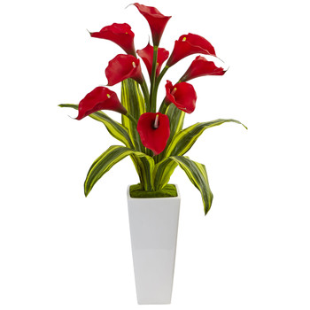 Callas with Tropical Leaves in Glossy Planter - SKU #1462-RD