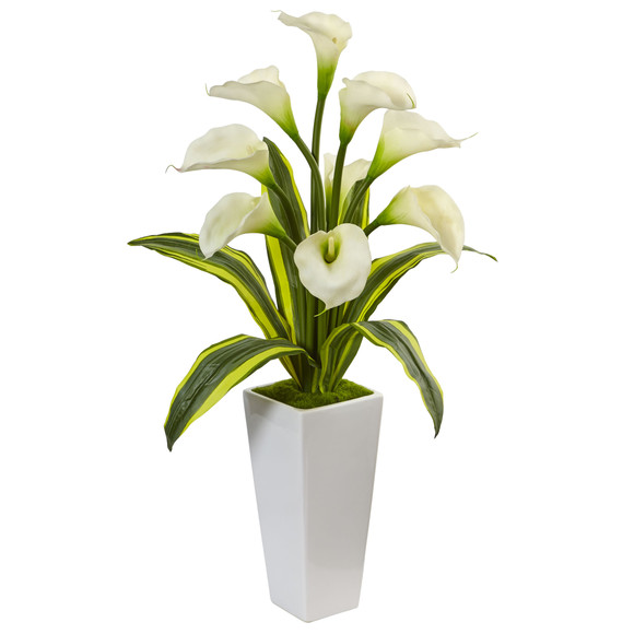 Callas with Tropical Leaves in Glossy Planter - SKU #1462 - 2
