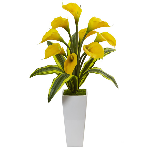 Callas with Tropical Leaves in Glossy Planter - SKU #1462 - 3