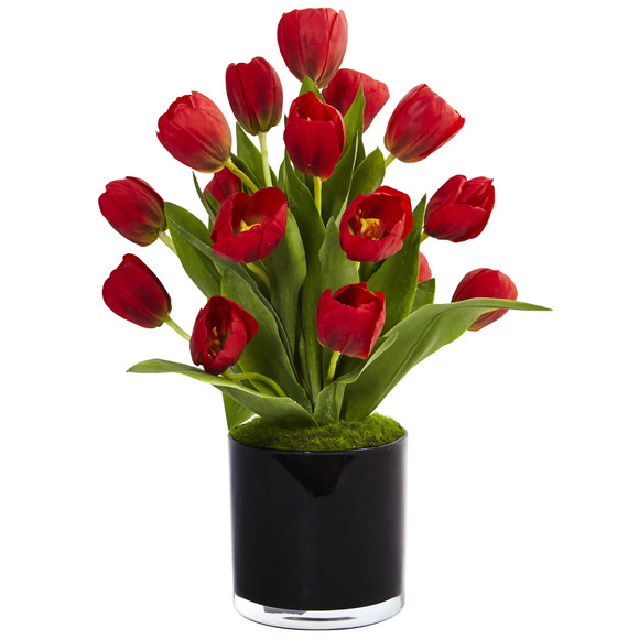Tulips in Black Glossy Cylinder - SKU #1467-RD