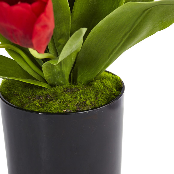 Tulips in Black Glossy Cylinder - SKU #1467-RD - 3