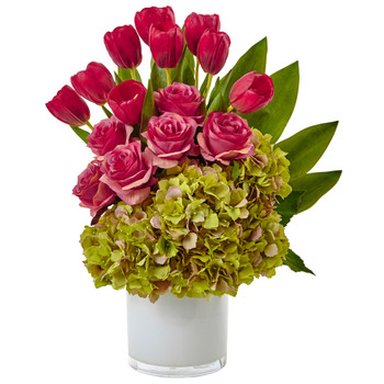 Tulip Rose Hydrangea Arrangement - SKU #1472-GK