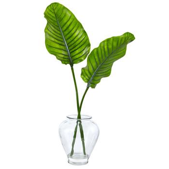 Travelers Palm in Glass Vase - SKU #1475