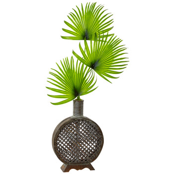 Fan Palm in Open Weave Vase - SKU #1477