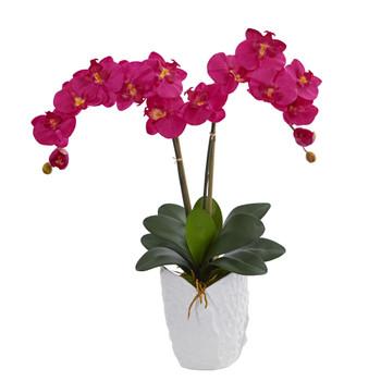 Double Phalaenopsis Orchid in White Vase - SKU #1480