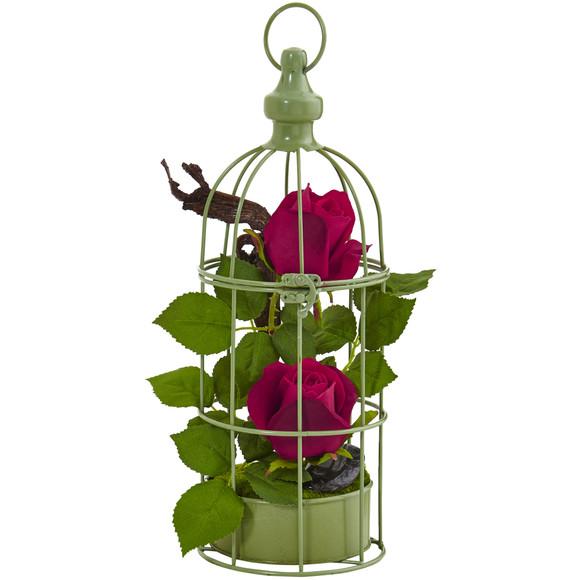 Roses Arrangement in Bird Cage - SKU #1484