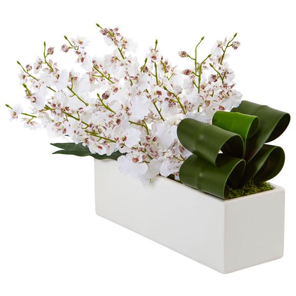 Dancing Lady Orchid in Rectangular Ceramic - SKU #1485 - 1
