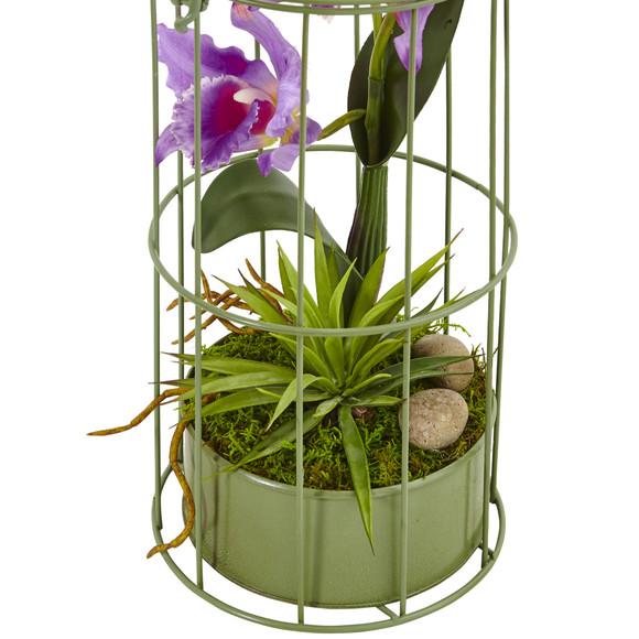 Cattleya Orchid Arrangement in Bird Cage - SKU #1492-PP - 1