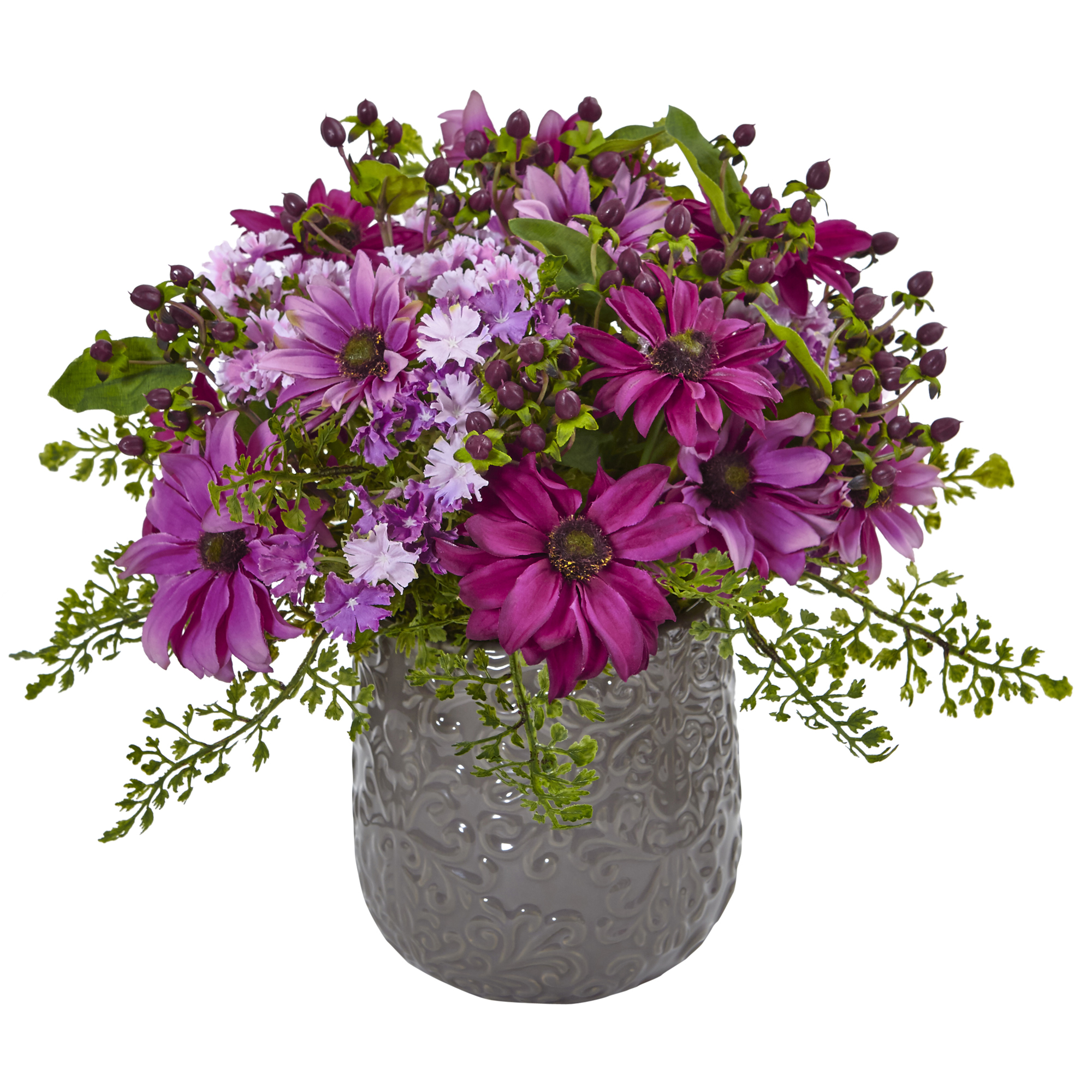 Artificial 13 Daisy Bush Flowers Floral Arrangement In Gray Ceramic