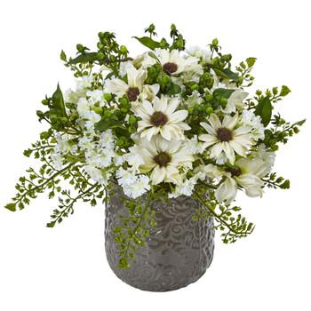 Daisy Bush in Gray Decorative Vase - SKU #1495-WH
