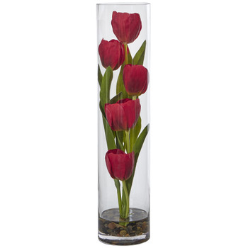 Tulips in Cylinder Glass - SKU #1498