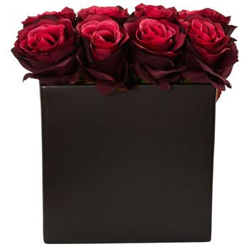 Roses Arrangement in Black Vase - SKU #1510-BG