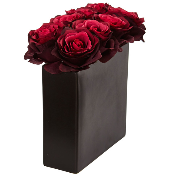 Roses Arrangement in Black Vase - SKU #1510 - 10