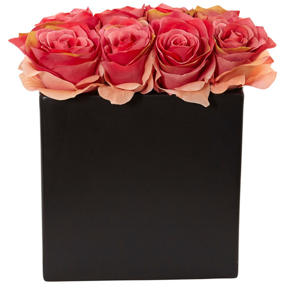 Roses Arrangement in Black Vase - SKU #1510 - 6
