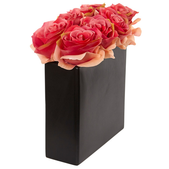 Roses Arrangement in Black Vase - SKU #1510 - 7