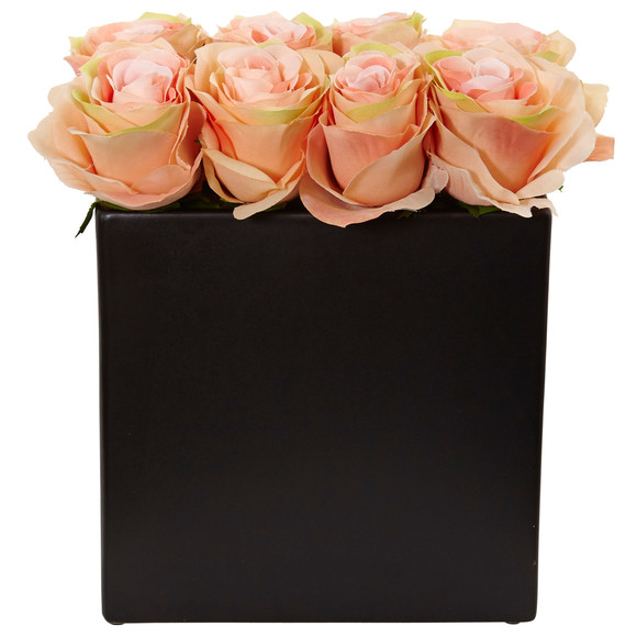 Roses Arrangement in Black Vase - SKU #1510 - 9