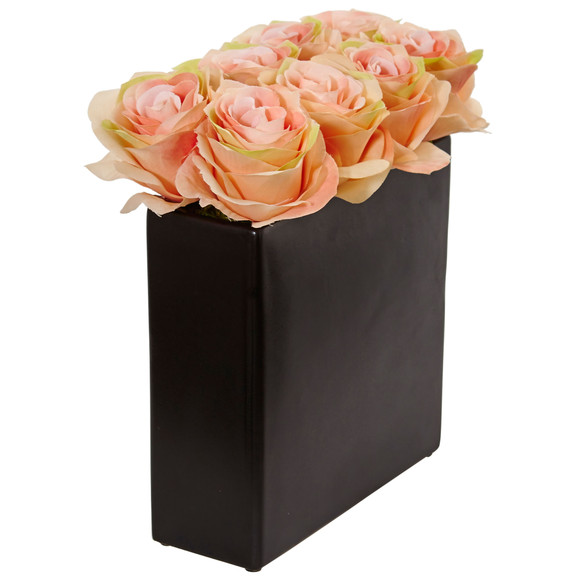 Roses Arrangement in Black Vase - SKU #1510 - 13