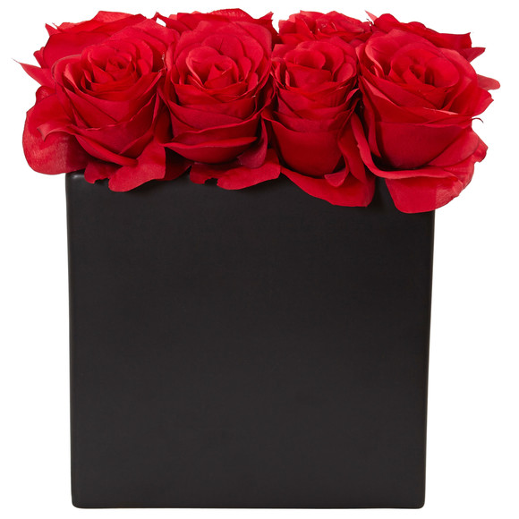 Roses Arrangement in Black Vase - SKU #1510