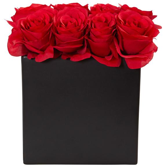 Roses Arrangement in Black Vase - SKU #1510