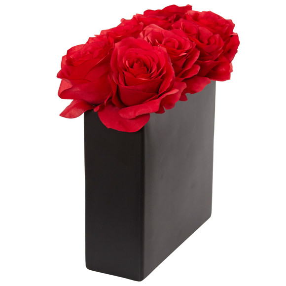 Roses Arrangement in Black Vase - SKU #1510 - 1