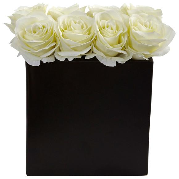 Roses Arrangement in Black Vase - SKU #1510 - 3