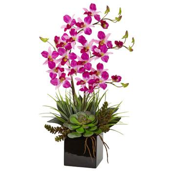Orchid and Succulent Arrangement in Black Vase - SKU #1511-PP