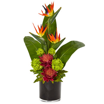 Bird of Paradise Tropical Arrangement in Black Vase - SKU #1512
