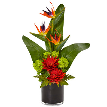 Bird of Paradise Tropical Arrangement in Black Vase - SKU #1512-OR