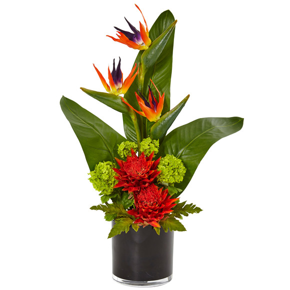 Bird of Paradise Tropical Arrangement in Black Vase - SKU #1512 - 1
