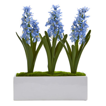 Hyacinth Artificial Arrangement in White Vase - SKU #1517
