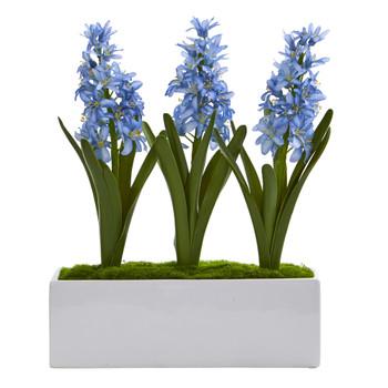 Hyacinth Artificial Arrangement in White Vase - SKU #1517