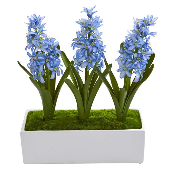 Hyacinth Artificial Arrangement in White Vase - SKU #1517 - 1