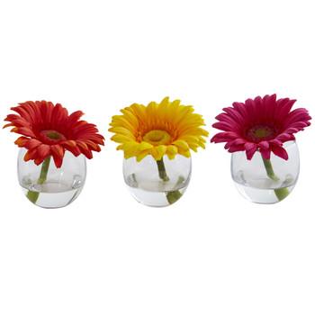 Gerbera Daisy Artificial Arrangement in Glass Vase Set of 3 - SKU #1518-S3