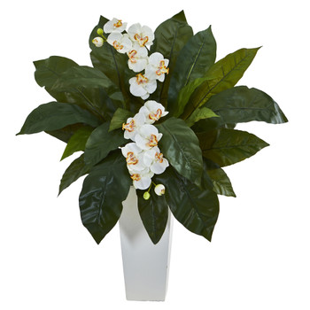 Orchid and Birdsnest Artificial Arrangement in White Tower Planter - SKU #1519-CR