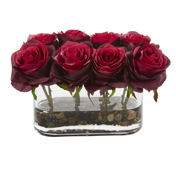5.5 Blooming Roses in Glass Vase Artificial Arrangement - SKU #1520 - 1