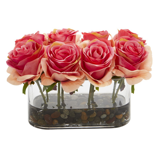 5.5 Blooming Roses in Glass Vase Artificial Arrangement - SKU #1520 - 3