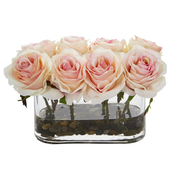 5.5 Blooming Roses in Glass Vase Artificial Arrangement - SKU #1520 - 5