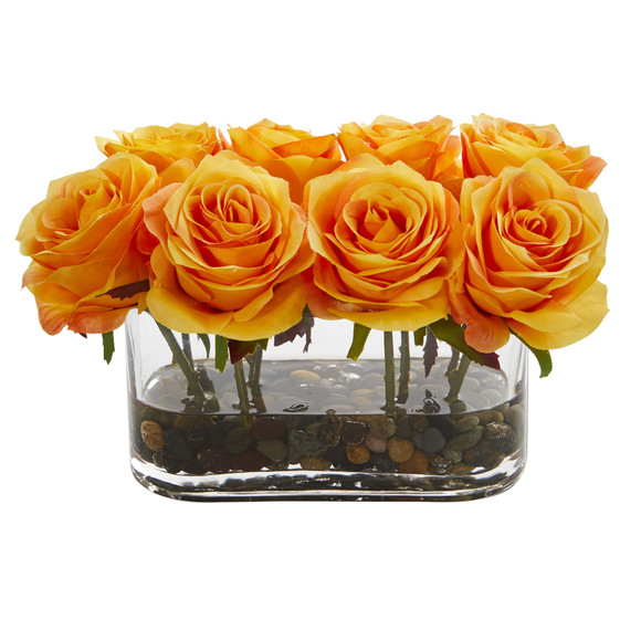 5.5 Blooming Roses in Glass Vase Artificial Arrangement - SKU #1520 - 7